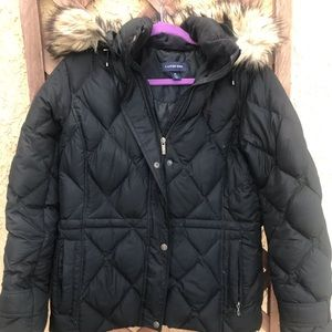 Land's End Down Jacket with Faux Fur Hood